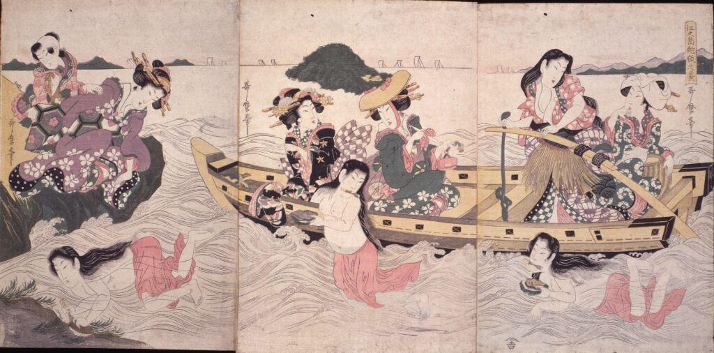 二代喜多川歌麿 江之島蚫猟之図