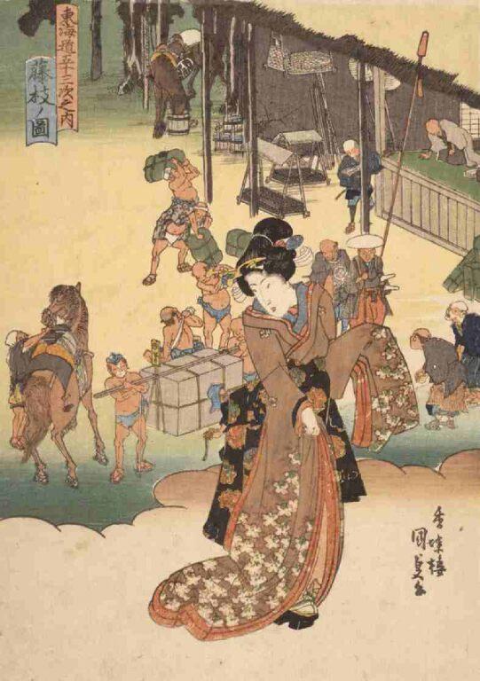 東海道五拾三次之内 藤枝ノ図