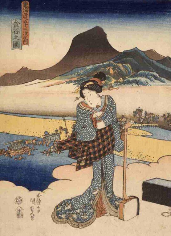 東海道五拾三次之内 金谷之図