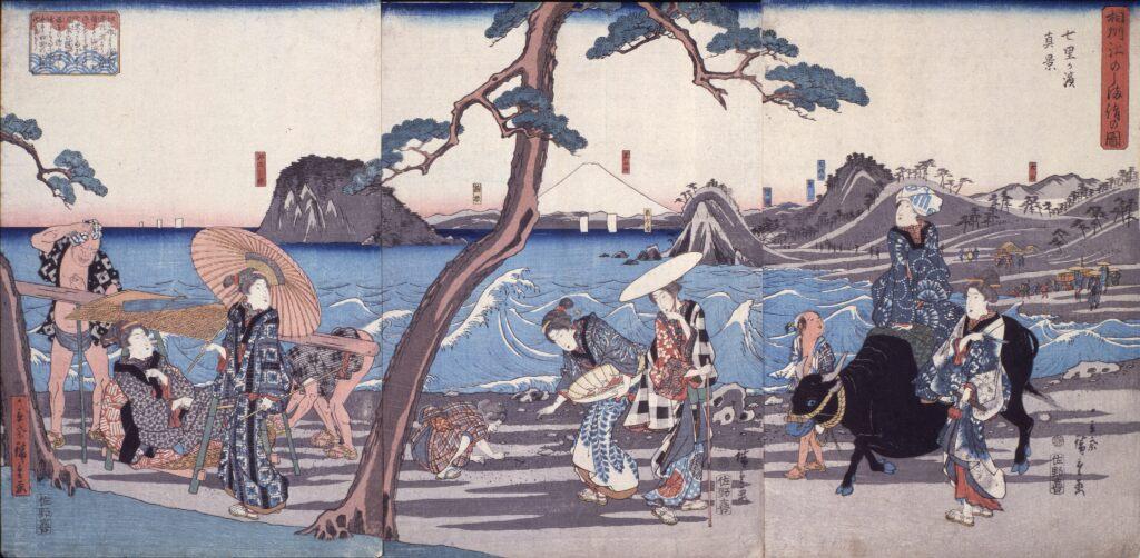歌川広重 相州江のしま詣の図七里が浜真景